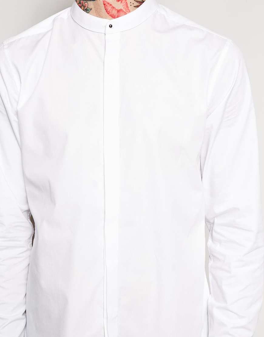 Asos Smart Shirt In Long Sleeve With Grandad Collar And