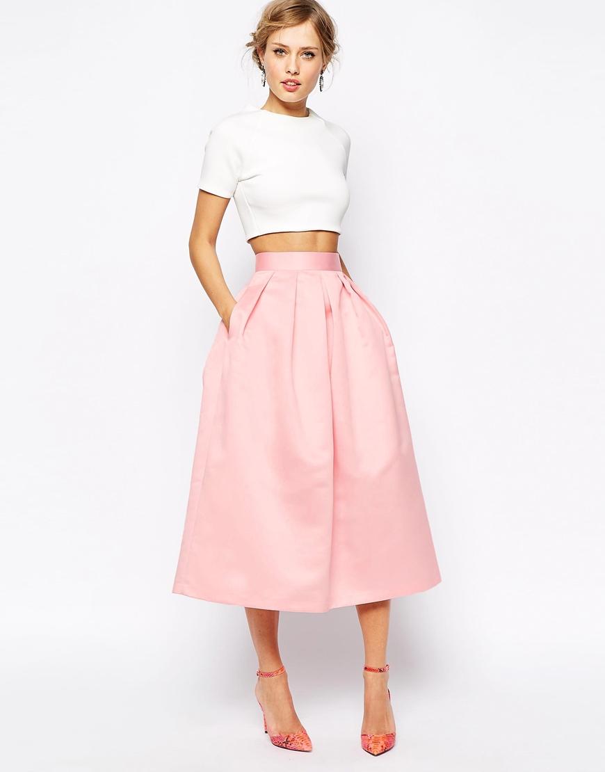 Closet Full Satin Debutante Skirt In Longer Length in Pink | Lyst
