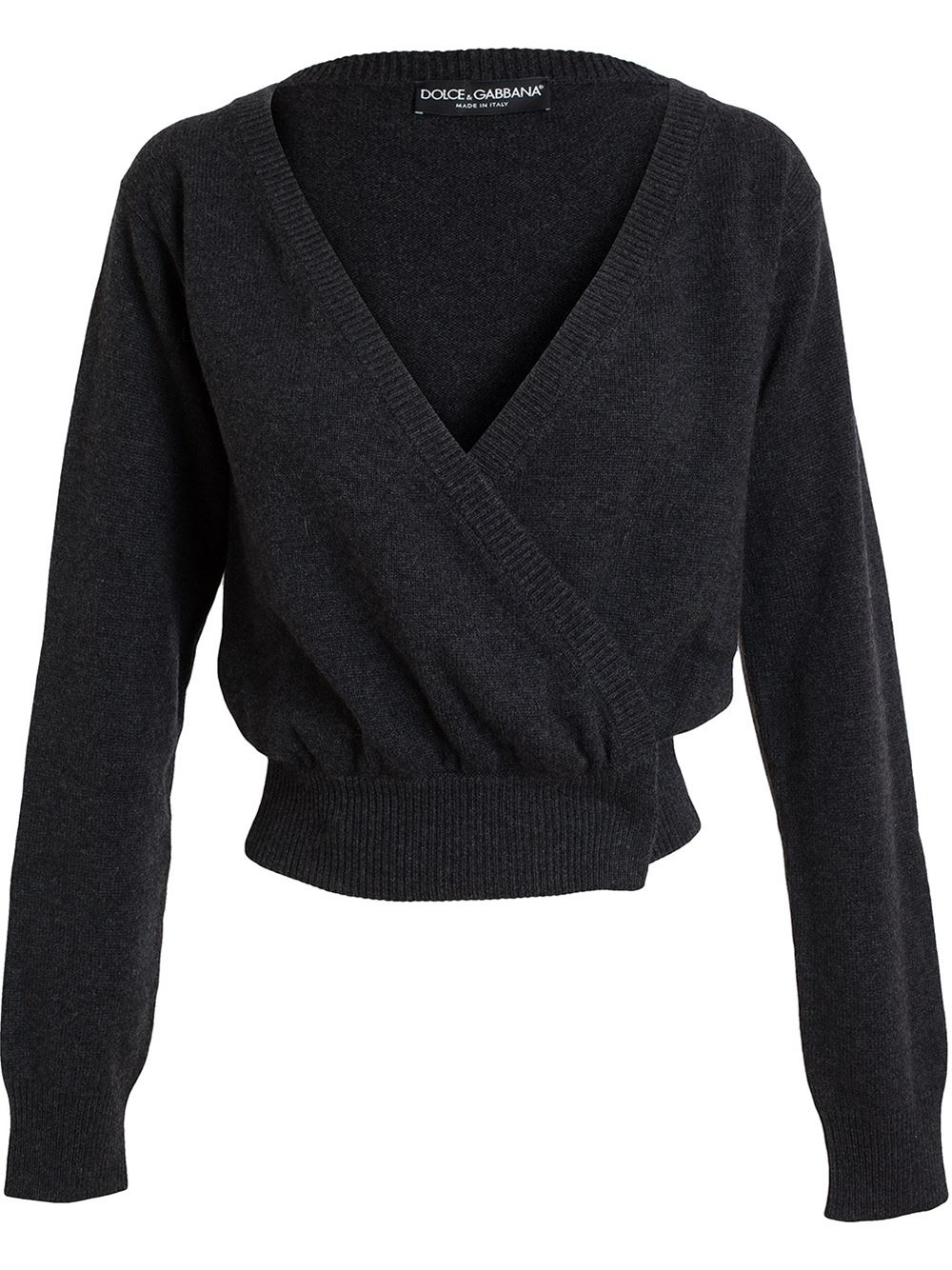 Dolce & gabbana Cashmere Wrap Cardigan in Gray | Lyst