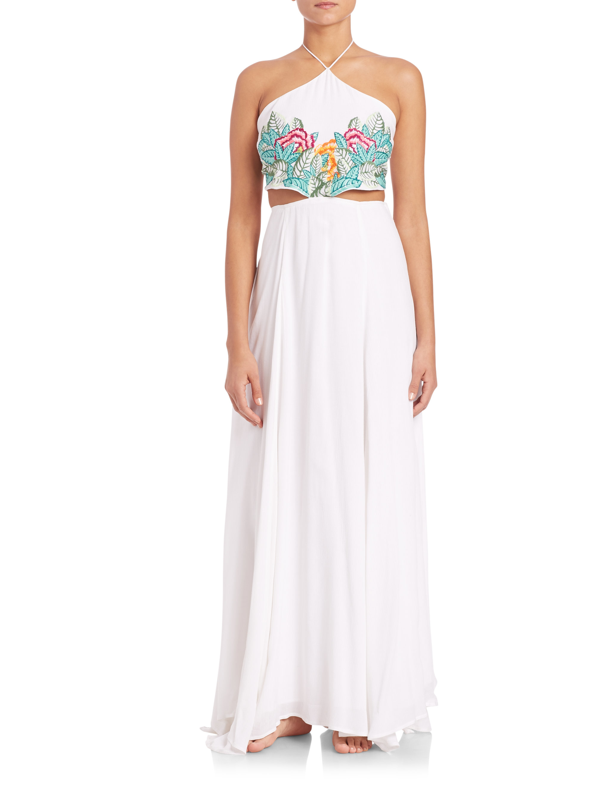 Mara hoffman leaf embroidered maxi dress in white lyst