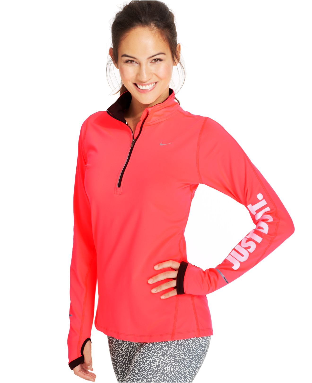 nike just do it element dri fit half zip pullover in red lyst. Black Bedroom Furniture Sets. Home Design Ideas