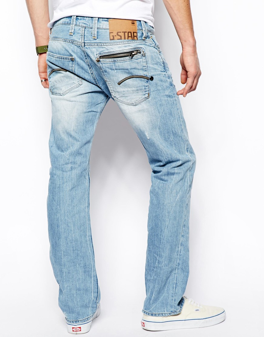 g star raw g star jeans attacc low straight retton denim in blue for men lyst. Black Bedroom Furniture Sets. Home Design Ideas