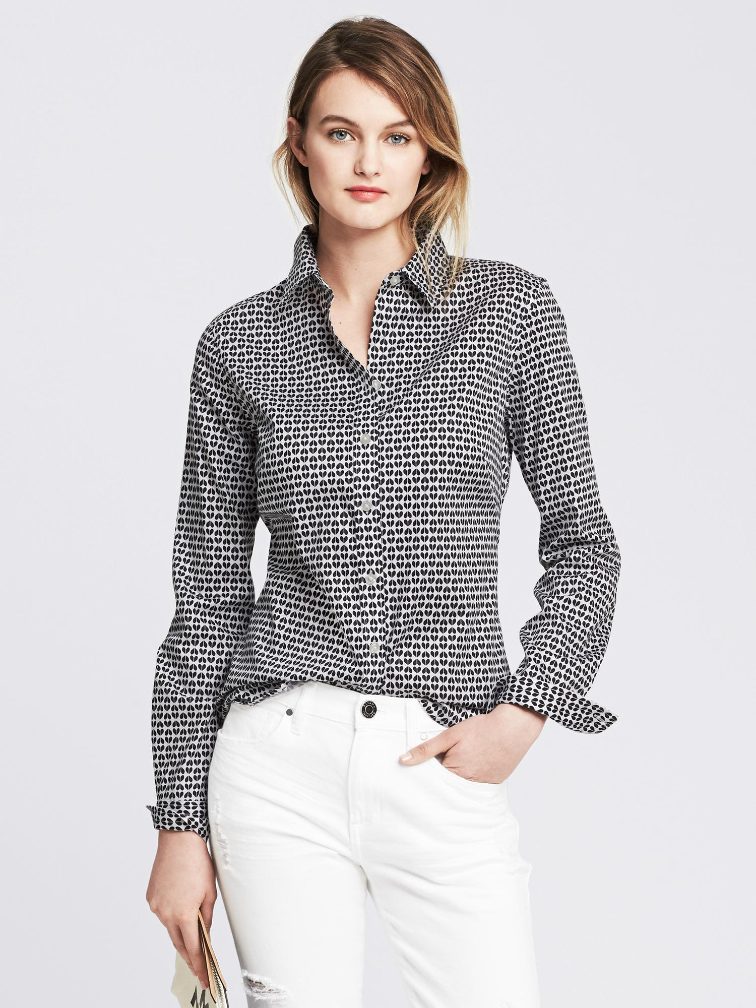 Banana republic fitted non iron heart print shirt in black white lyst - How to unwrinkle your clothes with no iron ...