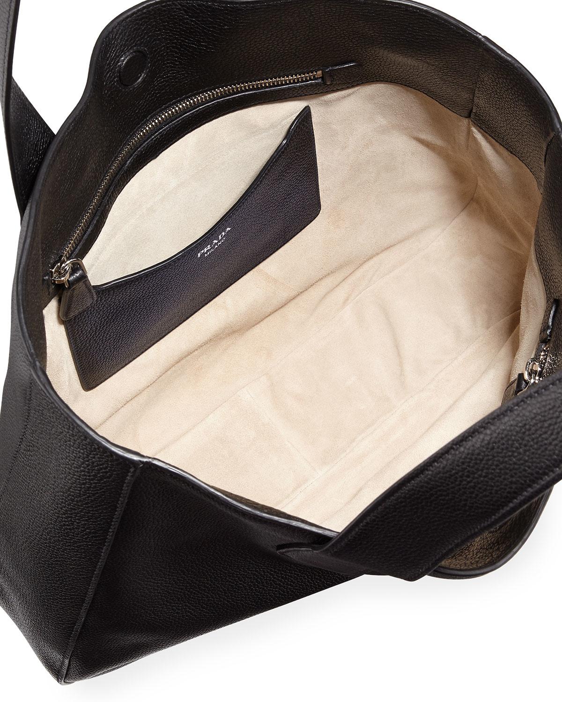 Prada Vitello Daino Leather Tote Bag in Black for Men (NERO) | Lyst