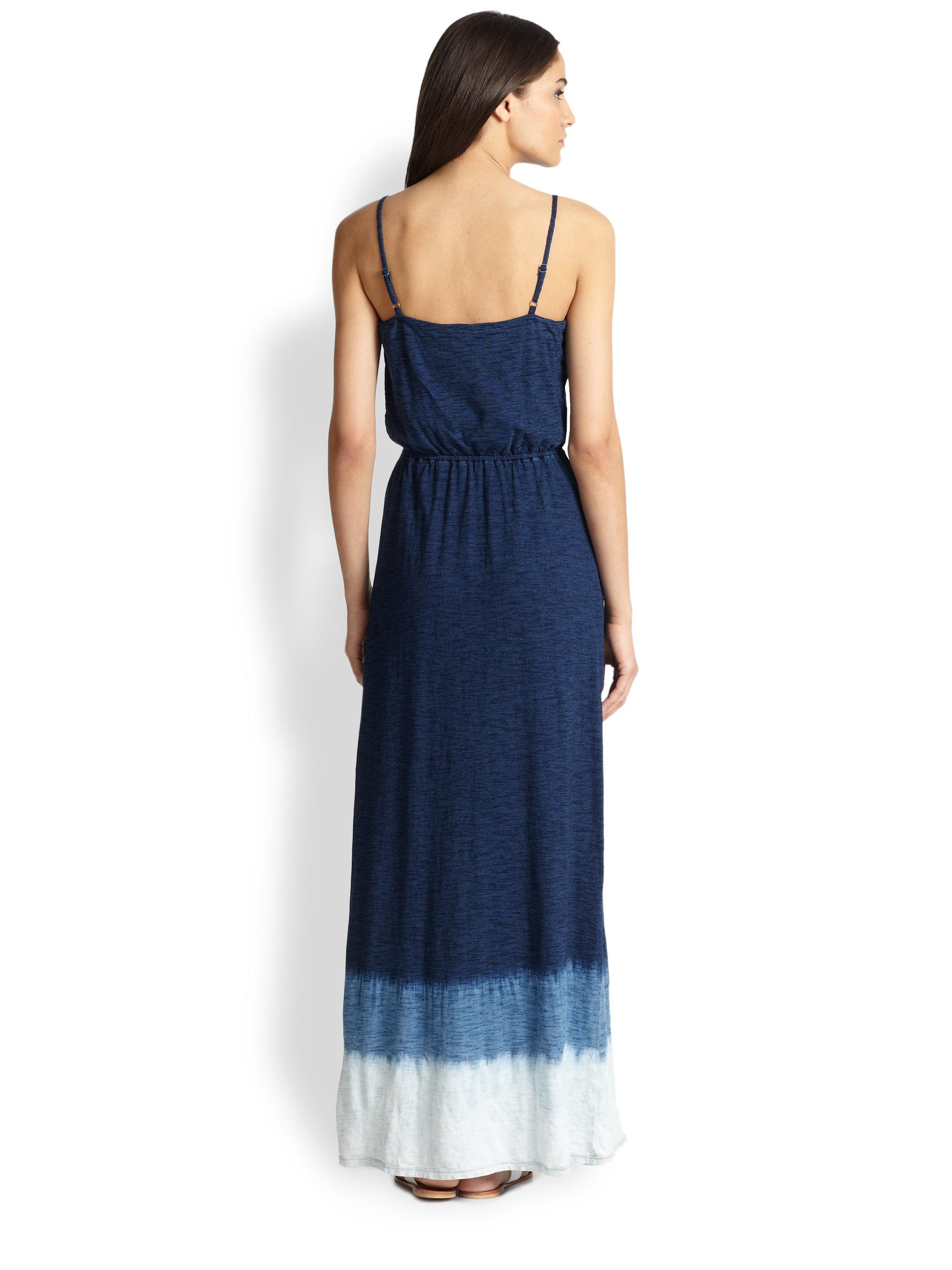 Lyst Splendid Tiedye Cotton Jersey Maxi Dress In Blue