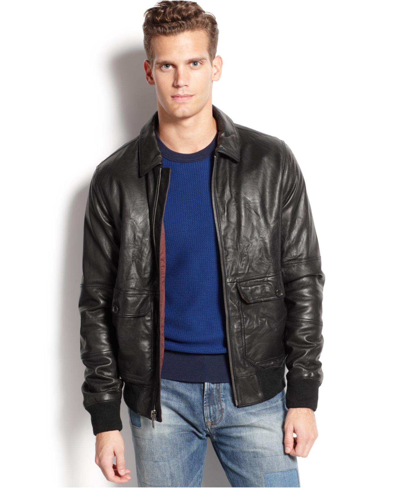 tommy hilfiger cambridge leather jacket in black for men. Black Bedroom Furniture Sets. Home Design Ideas