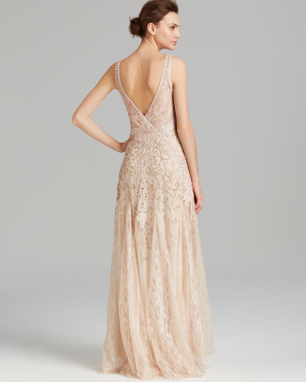 Sue wong Gown - Double V Neck Soutache in Natural | Lyst
