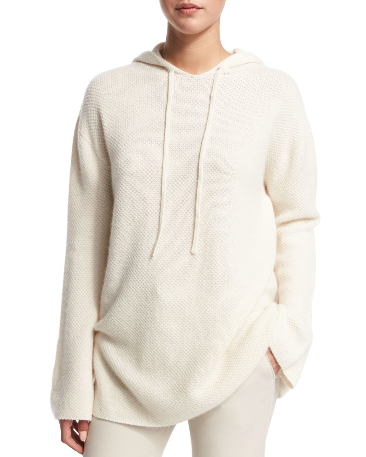 Helmut lang Cashmere Hoodie Sweater in Natural | Lyst