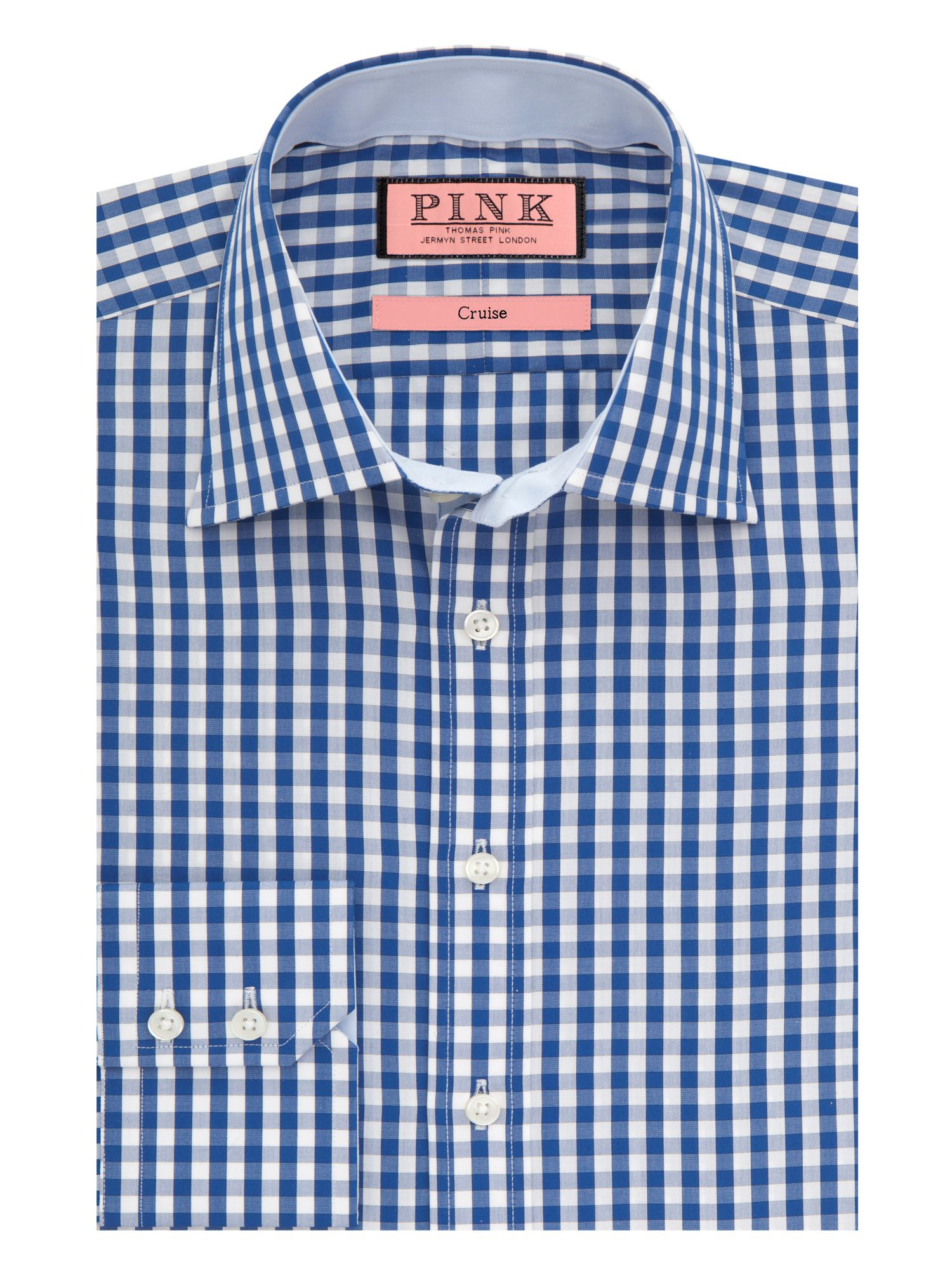 Thomas Pink Dobson Check Button Cuff Shirt In Blue For Men