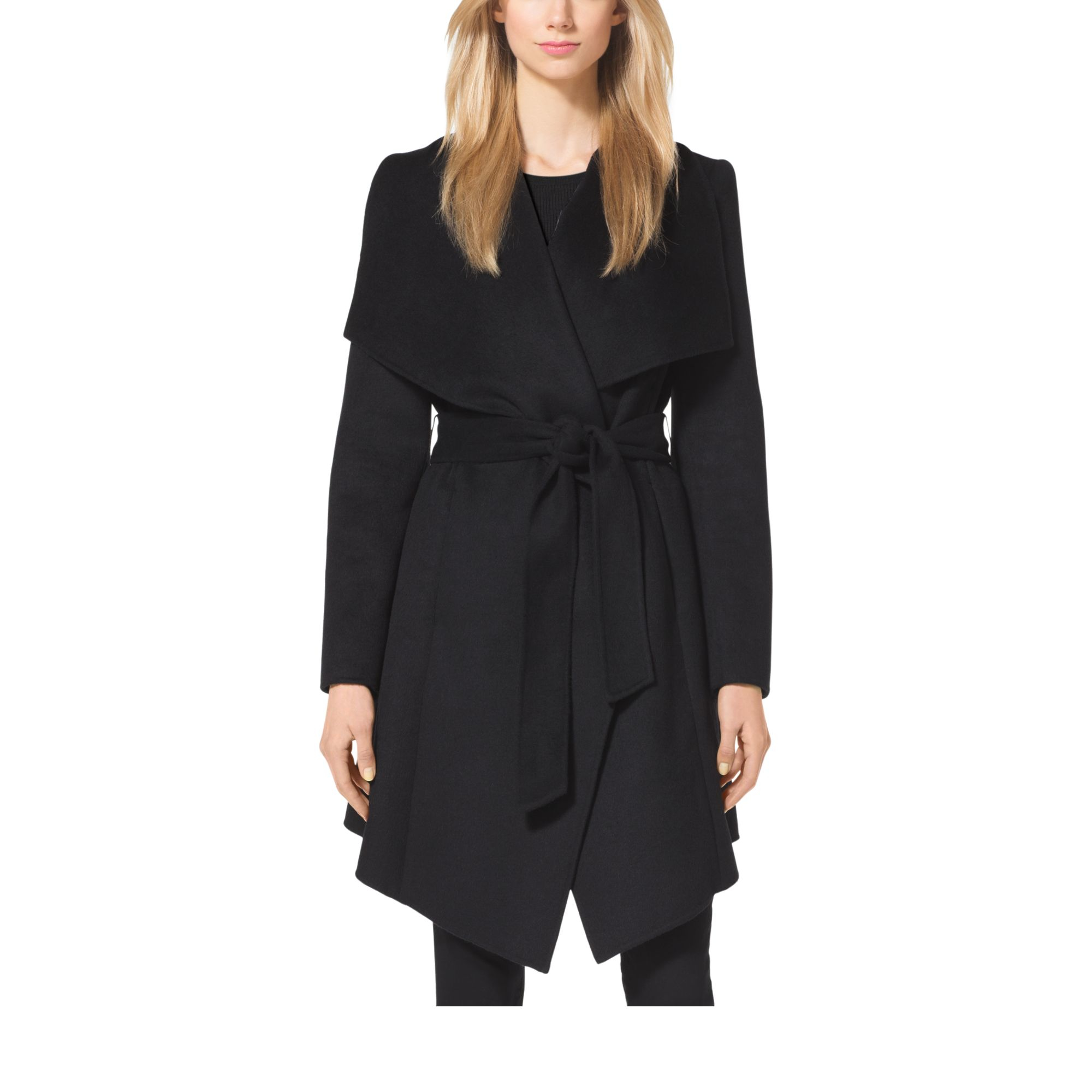 Michael kors Belted Double-face Wool Coat in Black | Lyst