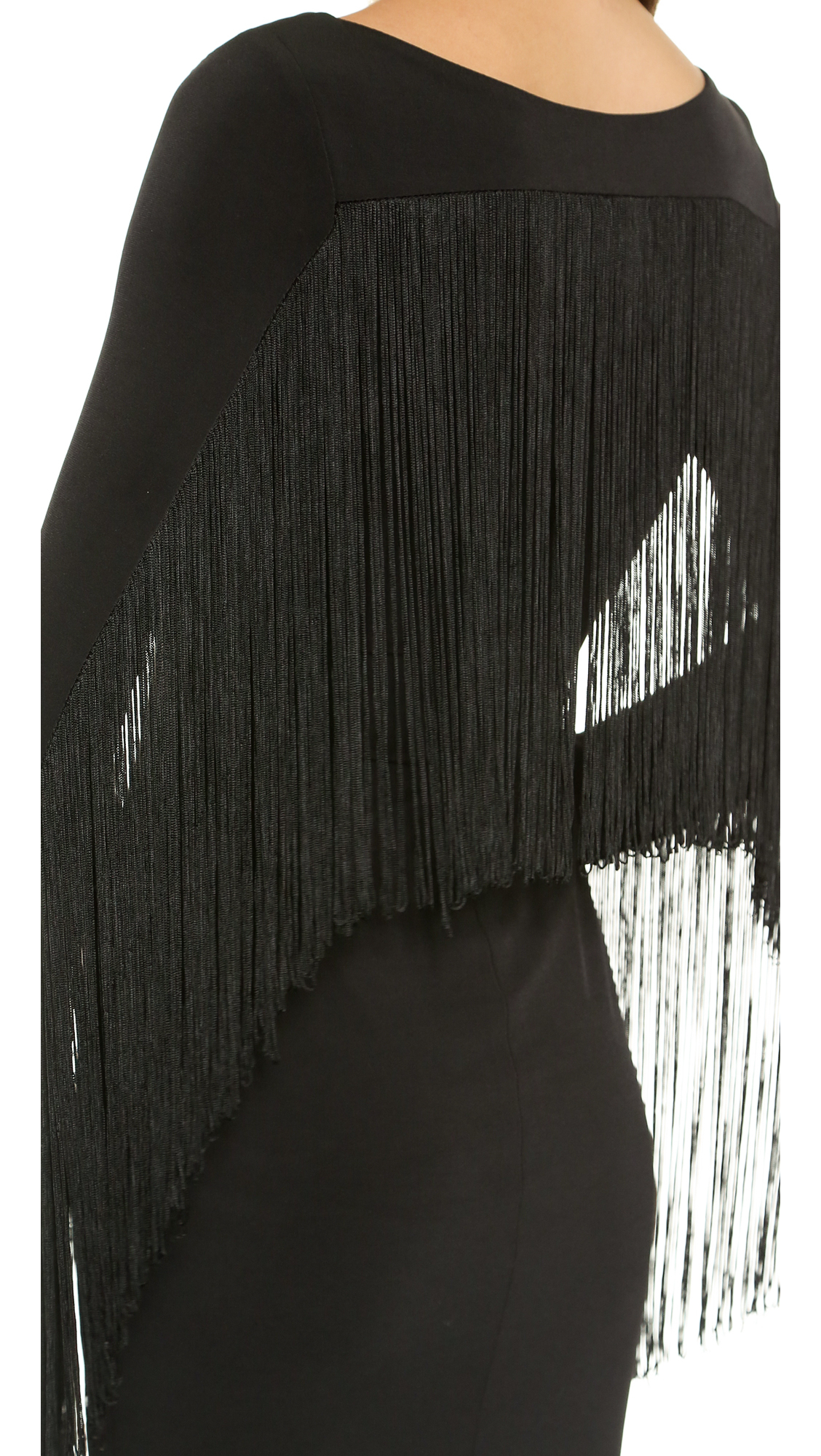 Lyst 5th Amp Mercer Long Sleeve Fringe Dress Black In Black