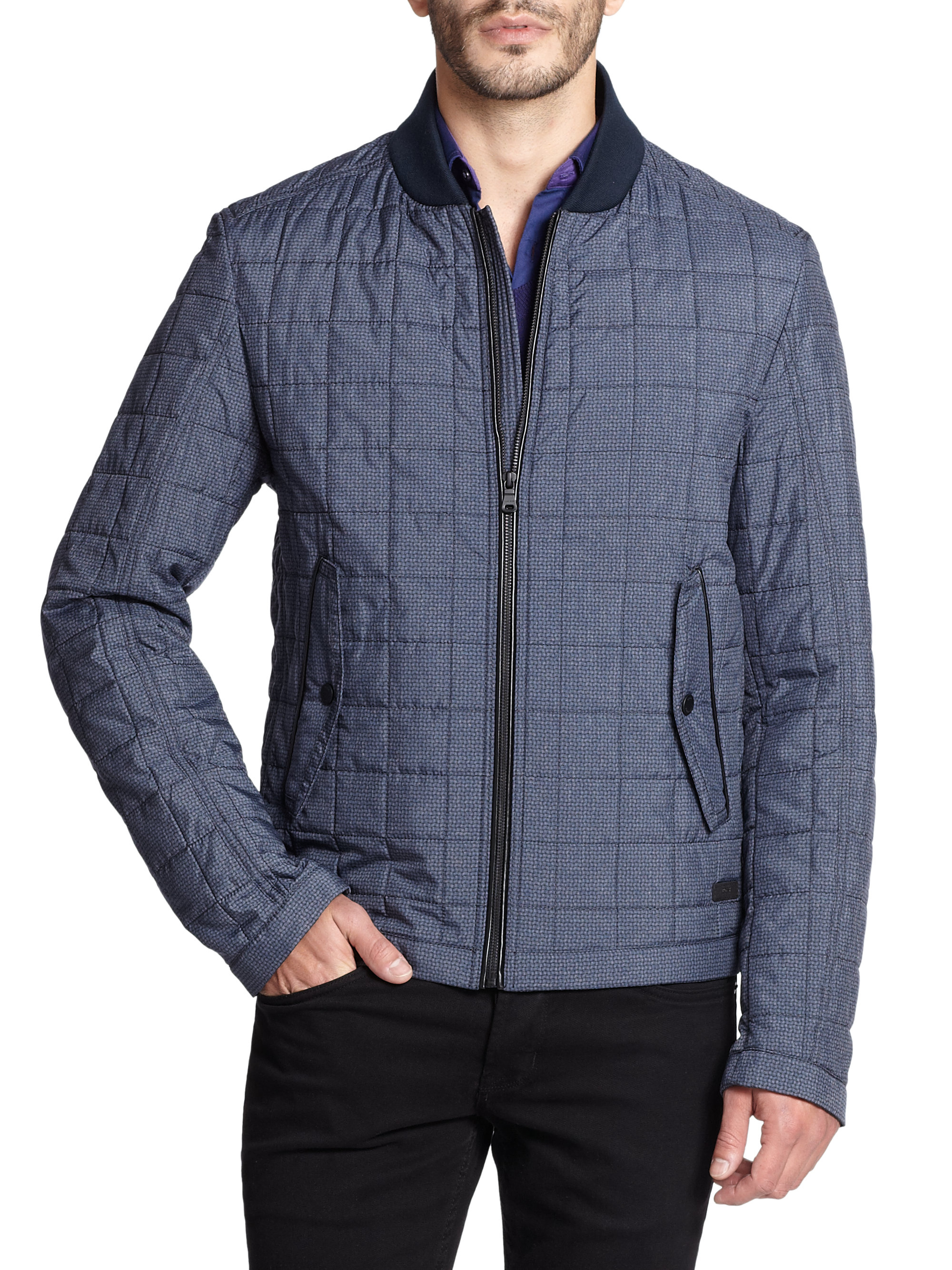 hugo boss cornias printed nylon jacket in blue for men. Black Bedroom Furniture Sets. Home Design Ideas