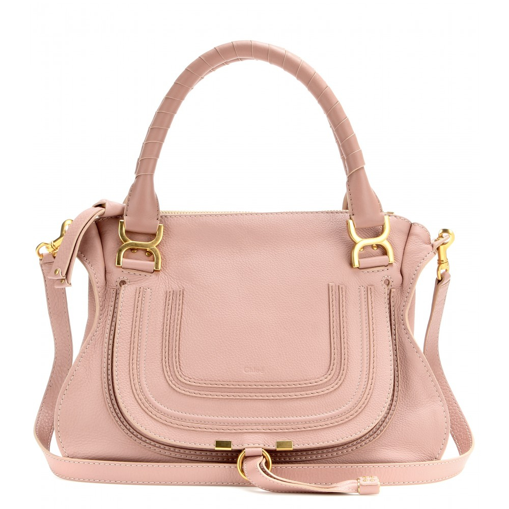 chlo marcie medium leather shoulder bag in pink anemone pink made in italy lyst. Black Bedroom Furniture Sets. Home Design Ideas