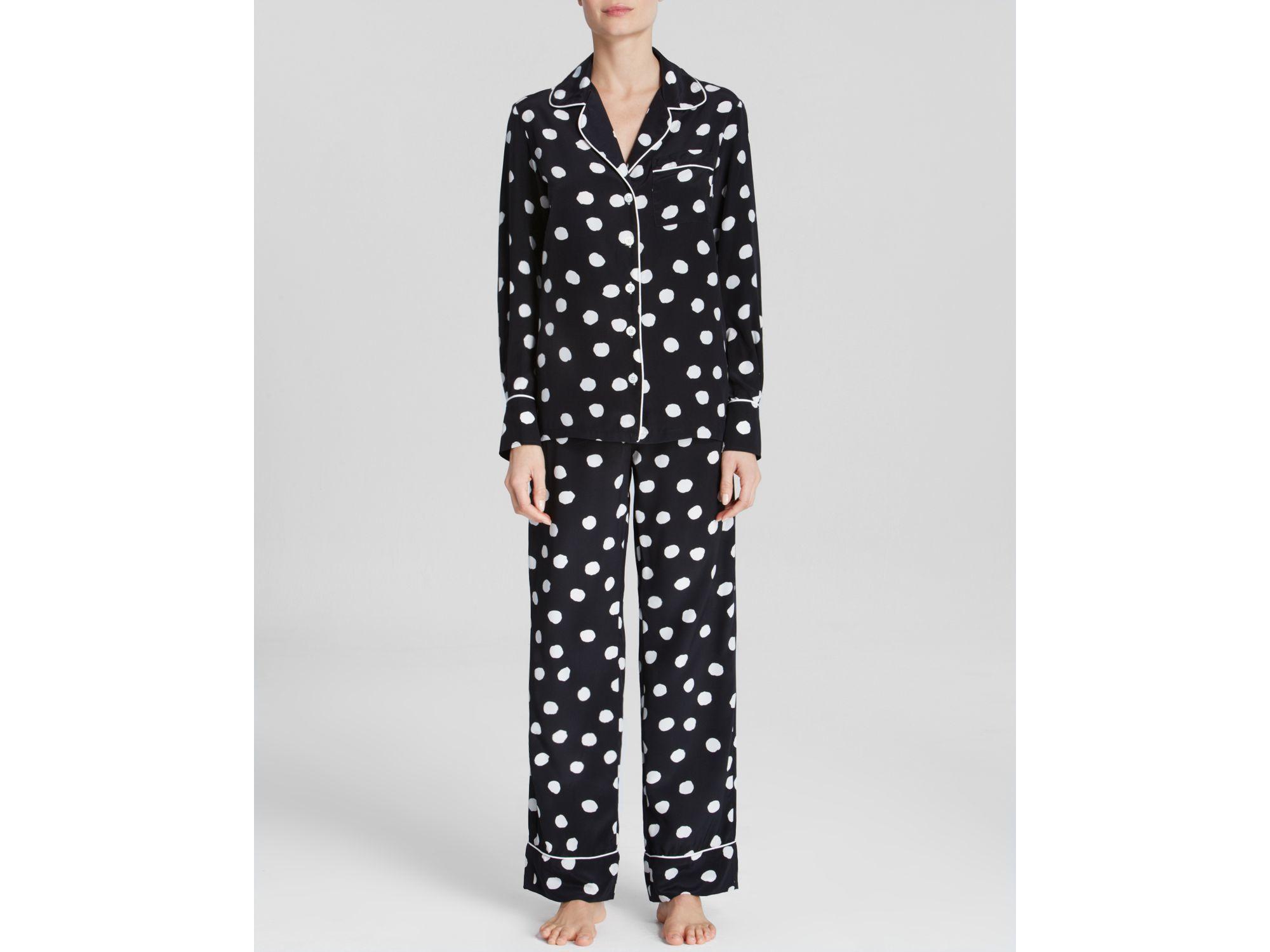 Three j nyc Silk Polka Dot Pajama Set in Black | Lyst