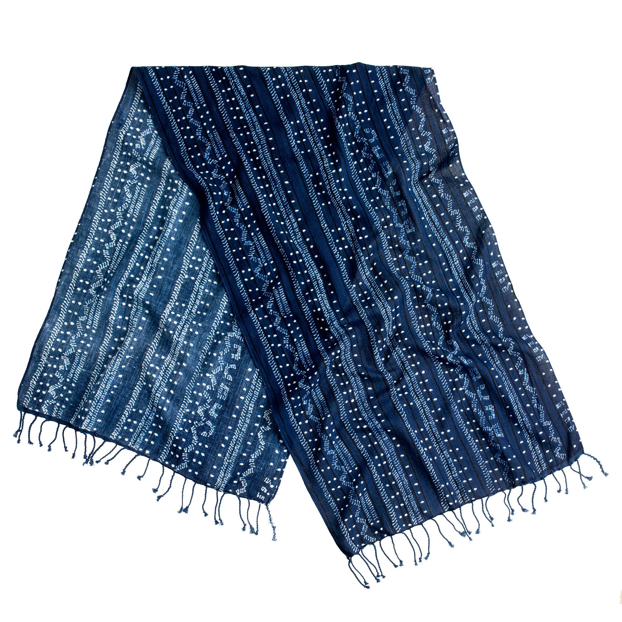 j crew indigo batik cotton scarf in blue for lyst