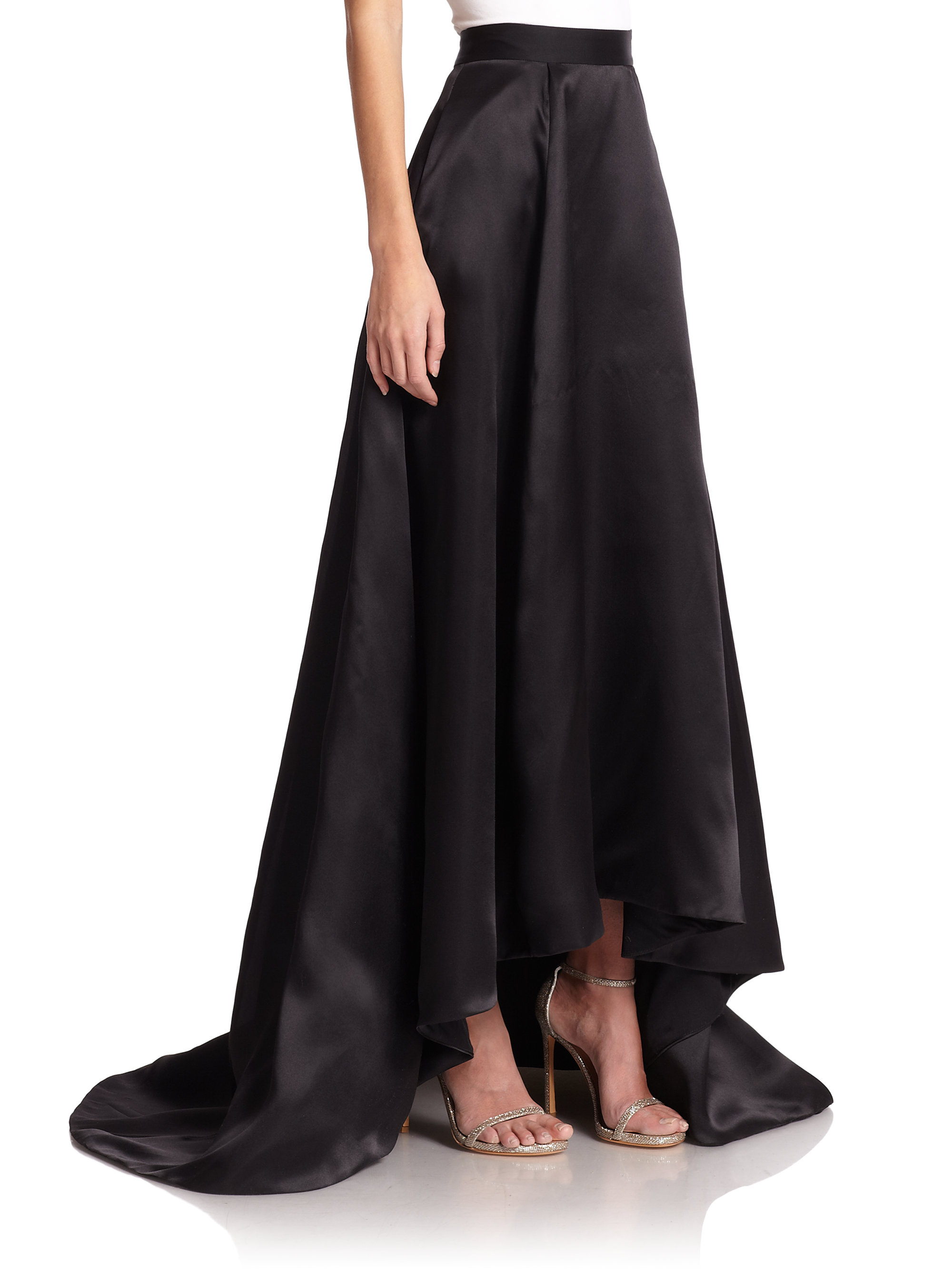 Lyst - St. John Silk Satin Ball Gown Skirt in Black