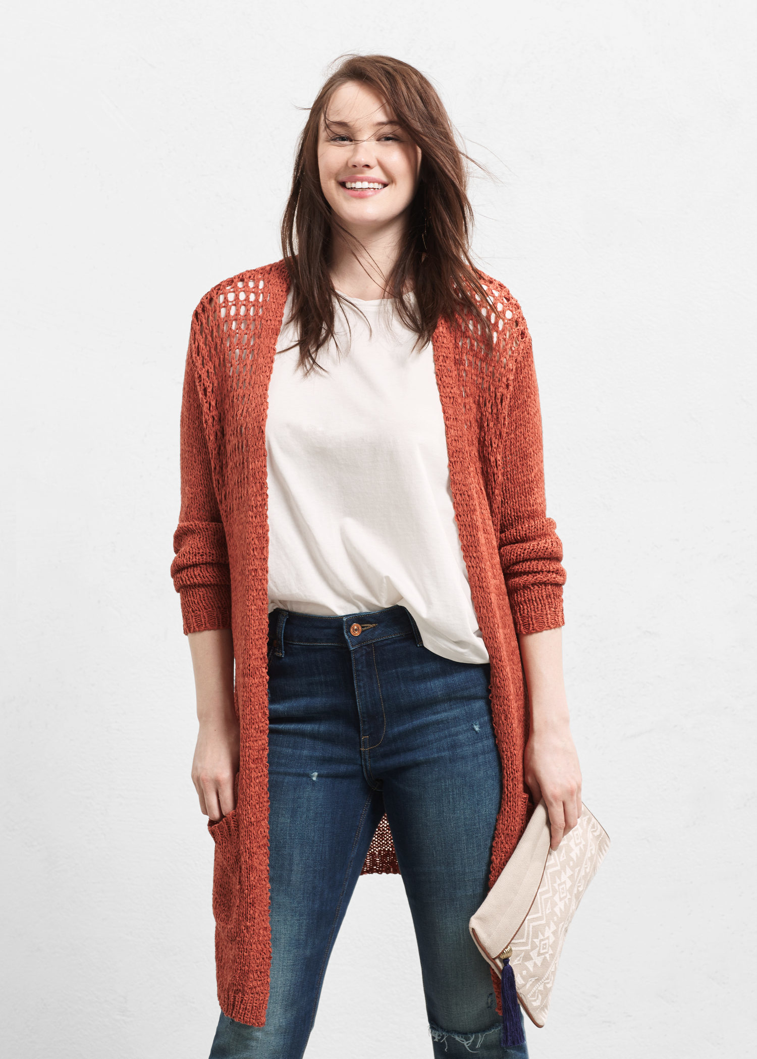 Violeta by mango Pocket Long Cardigan in Orange | Lyst