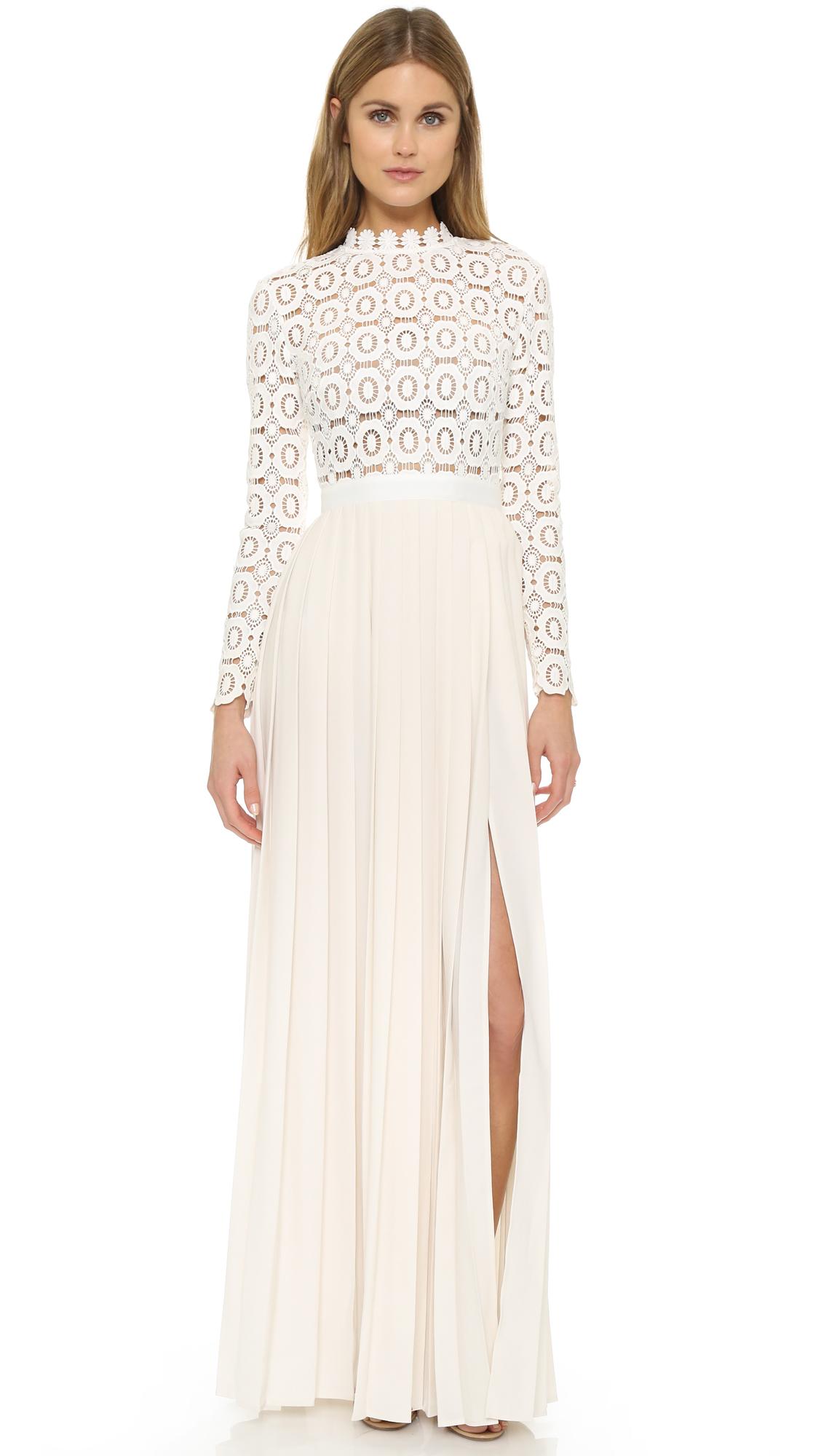 Crochet White Dress : self-portrait-off-white-pleated-crochet-maxi-dress-off-white-product-3 ...