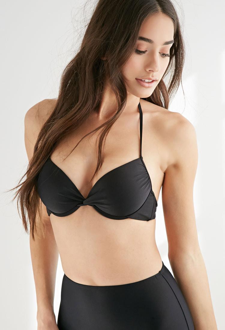 b404857967 Forever 21 Halter Push-up Bikini Top in Black - Lyst