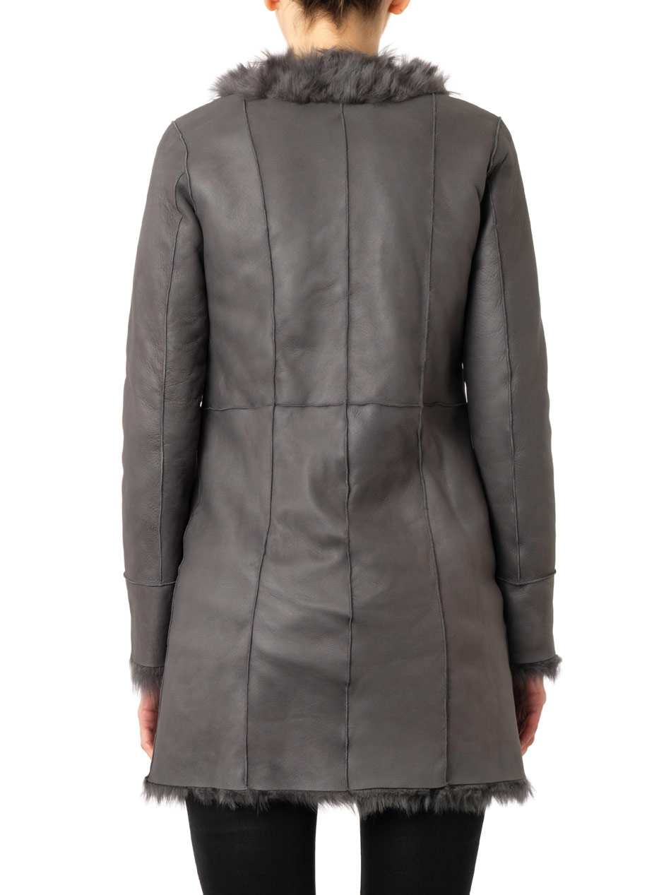 Drome Reversible Leather And Shearling Coat in Gray | Lyst