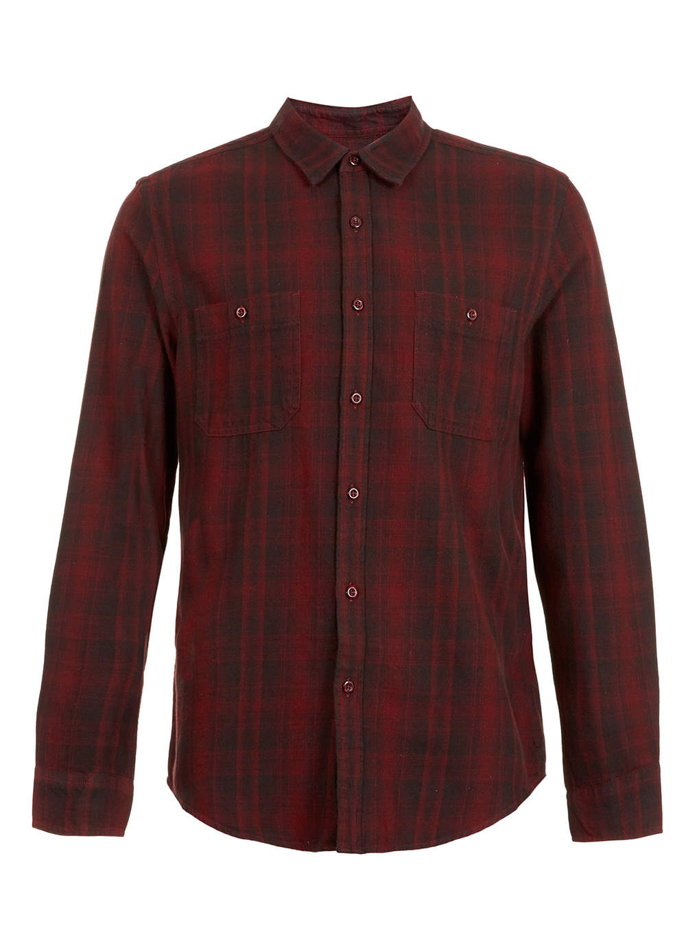 Topman Faded Red Tartan Long Sleeve Flannel Shirt In Red