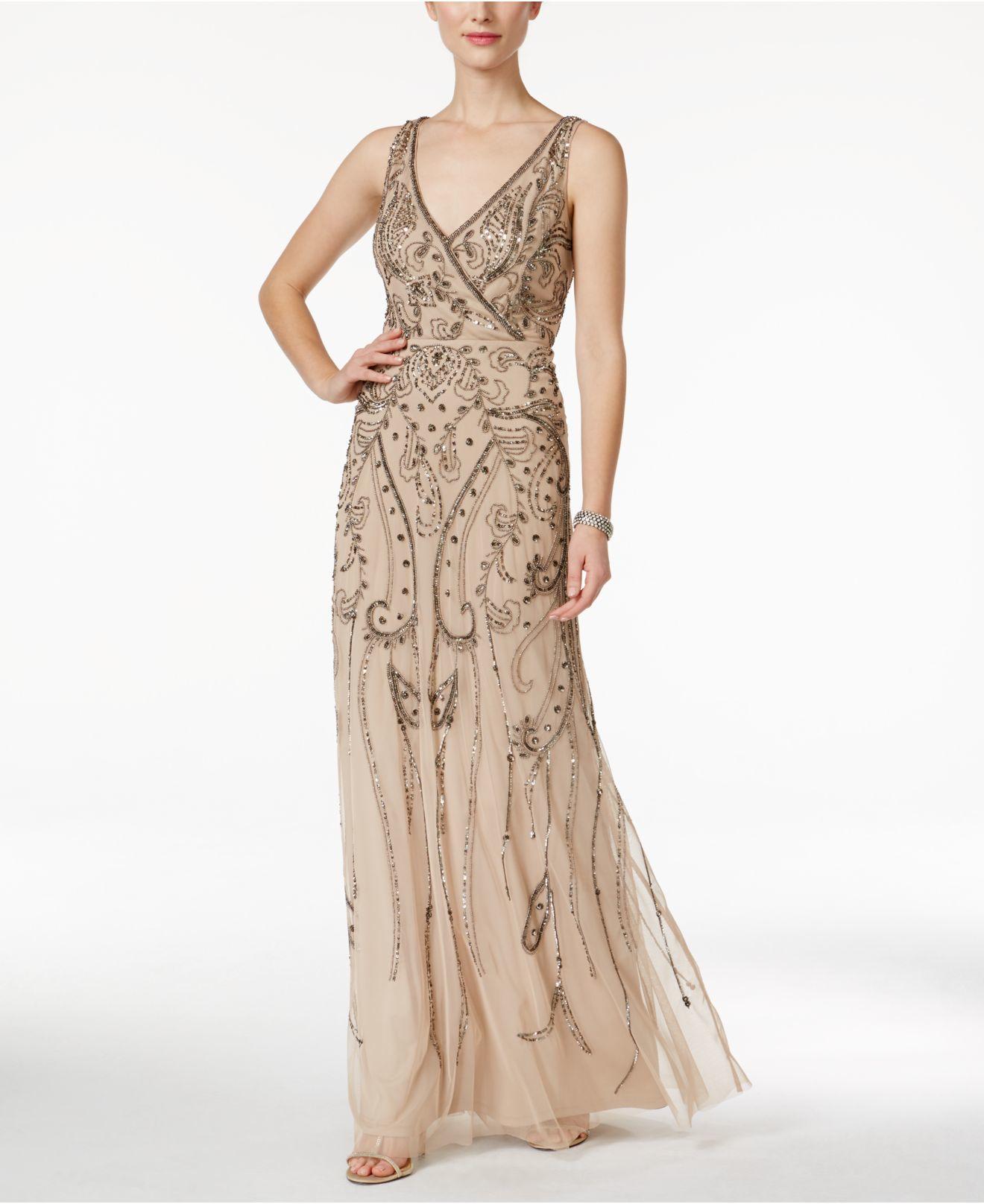 Lyst - Adrianna Papell Beaded Surplice Evening Gown in Metallic