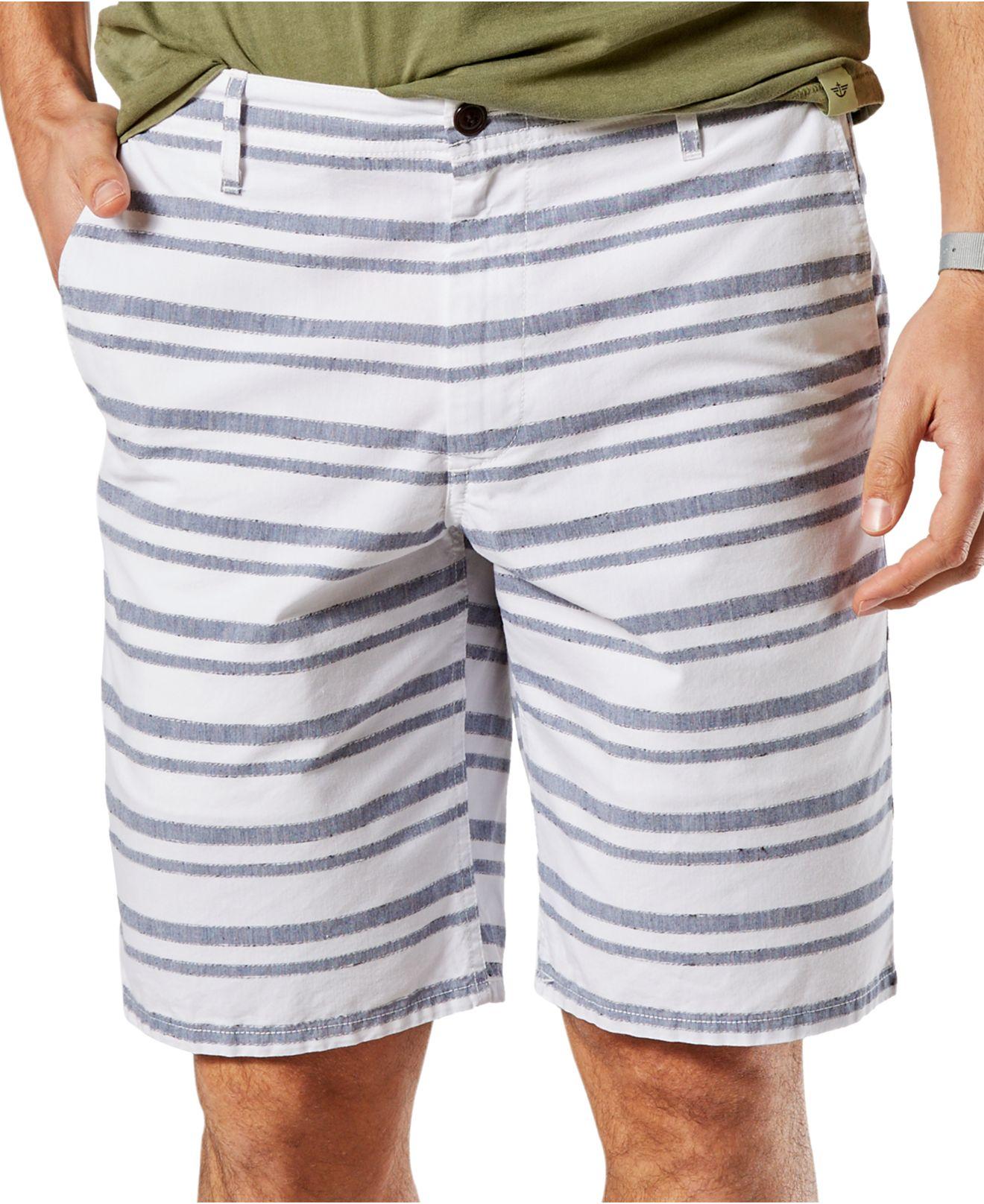 Dockers Men's Striped Tapered-leg Shorts in White for Men | Lyst