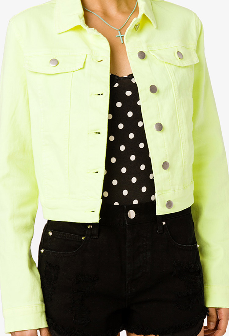 Forever 21 Neon Denim Jacket in Yellow (neon yellow)