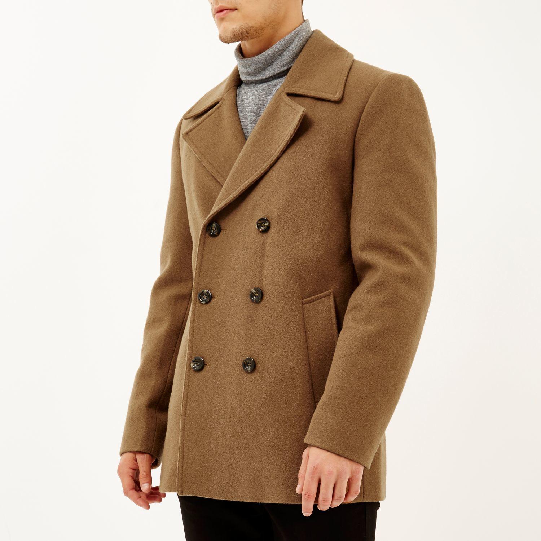 River island Brown Smart Wool-blend Pea Coat in Brown for Men | Lyst