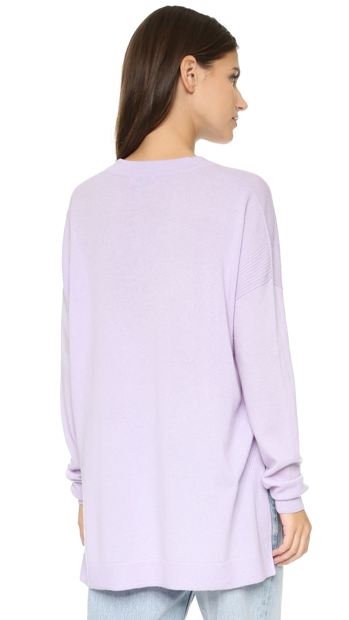 Vince Cashmere V Neck Sweater in Purple | Lyst
