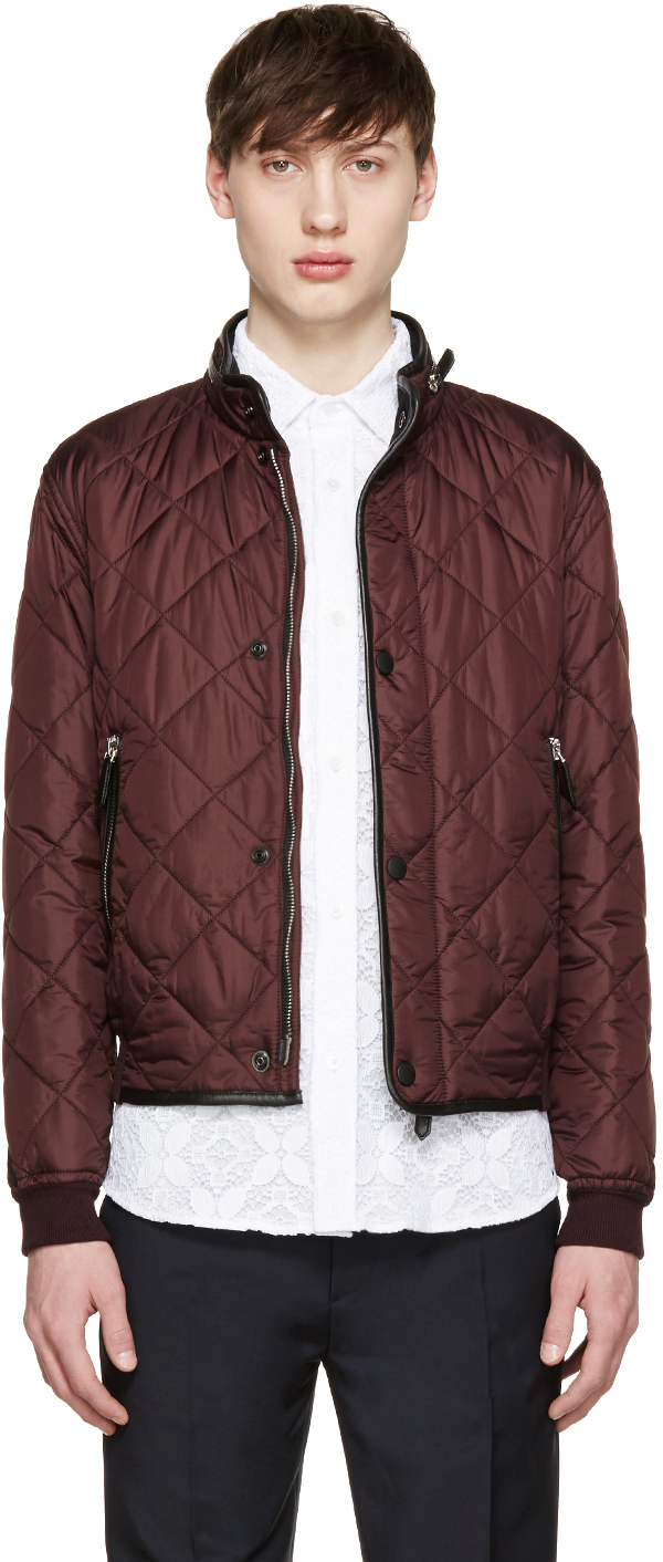 Burberry Prorsum Burgundy Quilted Bomber Jacket In Purple