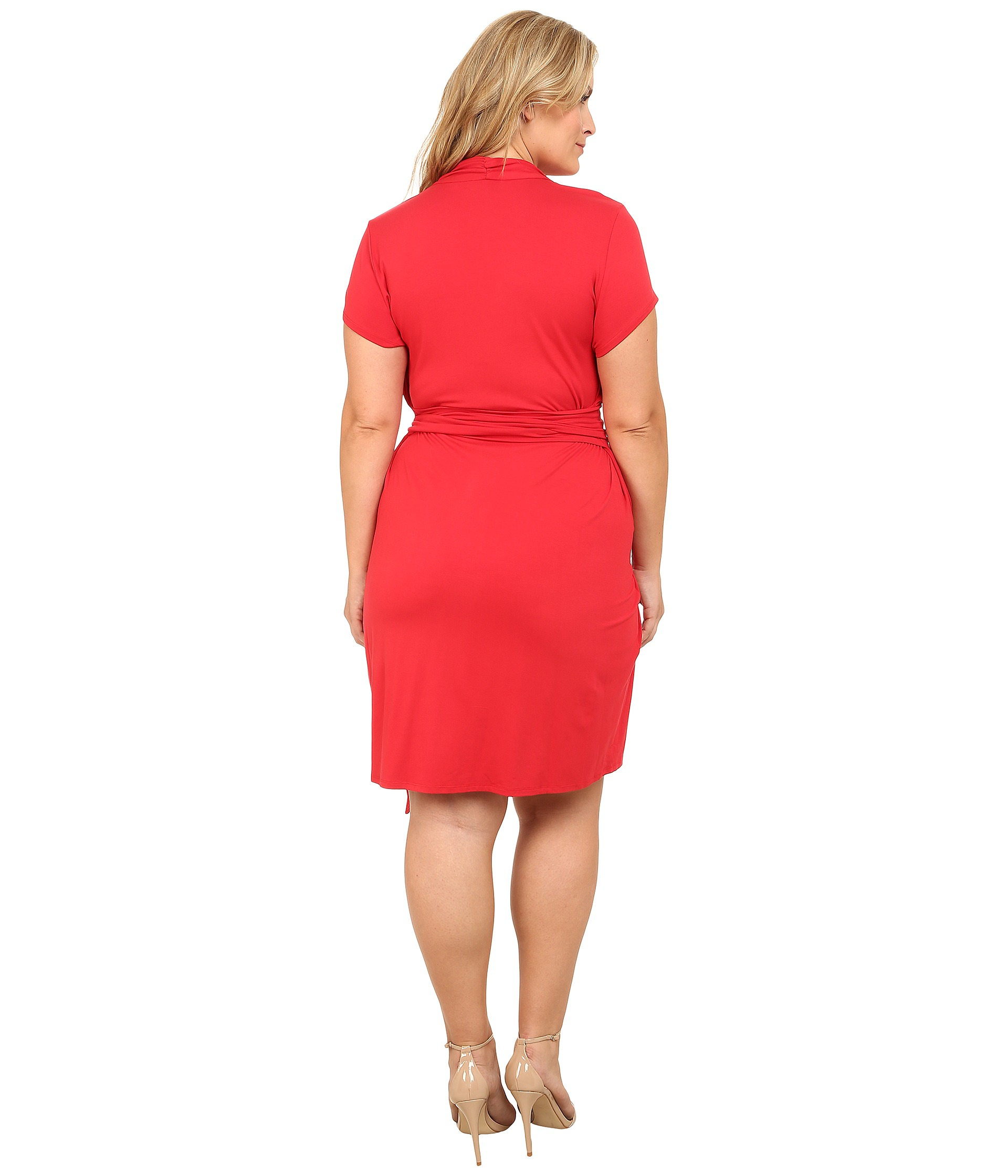 Adrianna papell Plus Size Short Sleeve Wrap Dress in Red - Lyst
