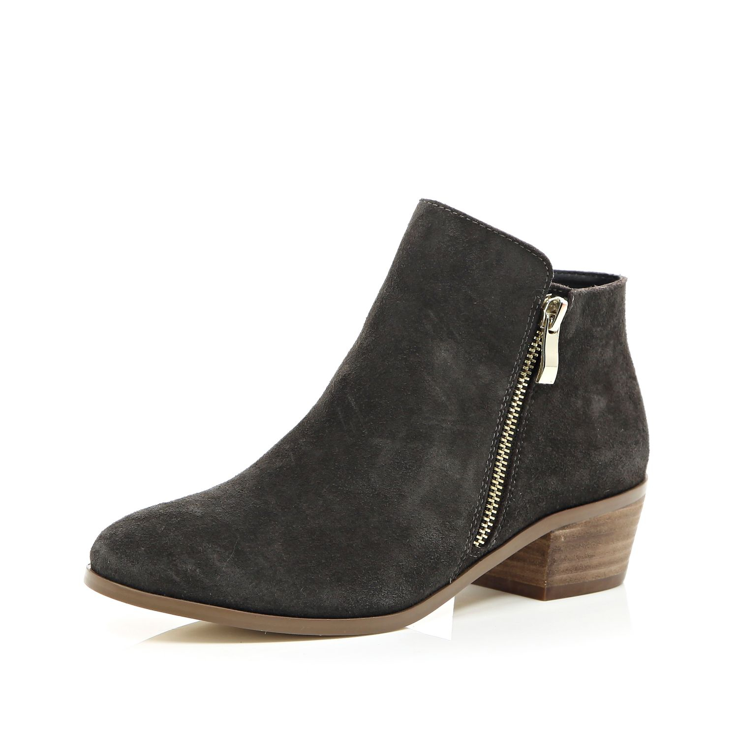 River island Grey Suede Zip Side Ankle Boots in Black | Lyst