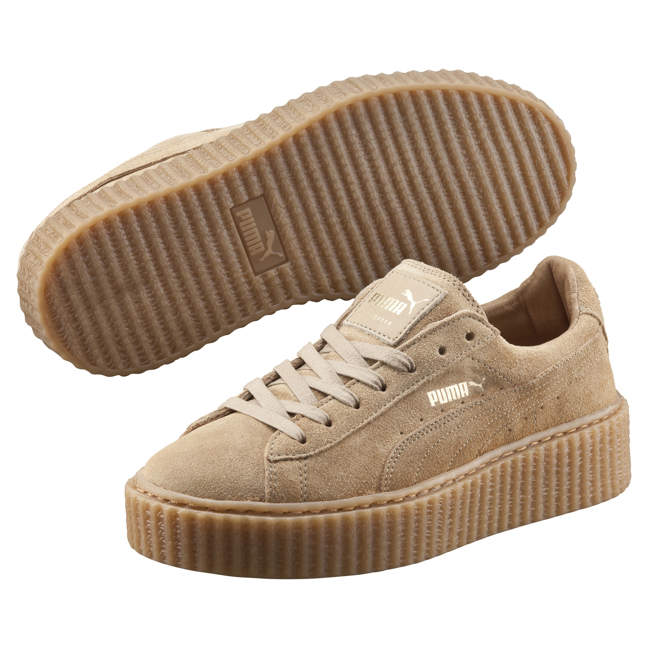 puma x rihanna suede creepers oatmeal in natural lyst. Black Bedroom Furniture Sets. Home Design Ideas