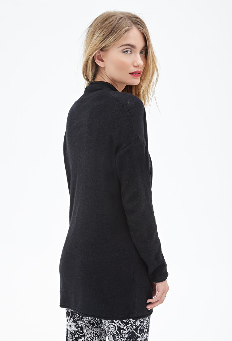 Forever 21 Contemporary Longline Shawl Collar Cardigan in Black   Lyst
