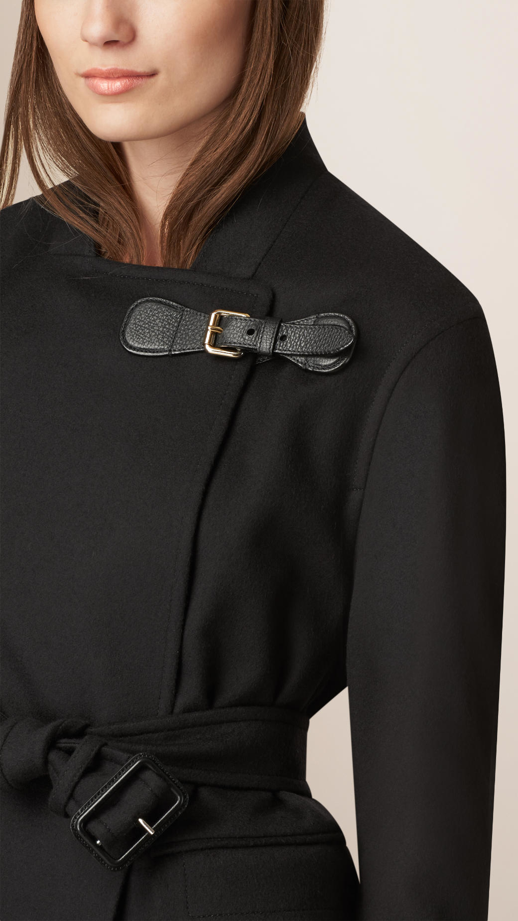 Burberry Cashmere Wrap Coat in Black | Lyst