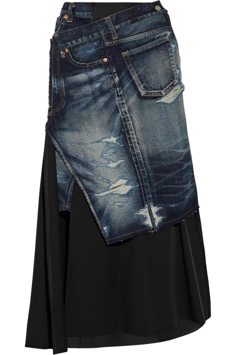 junya watanabe asymmetric wool twill and denim midi skirt