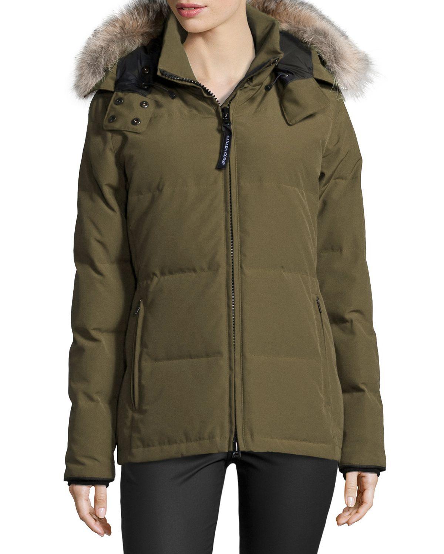 81c88063b588 Lyst - Canada Goose Chelsea Fur-hood Parka Coat in Green