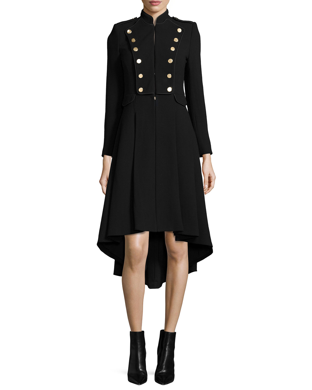Alice Olivia Rossi Long Sleeve Military Style Coat In