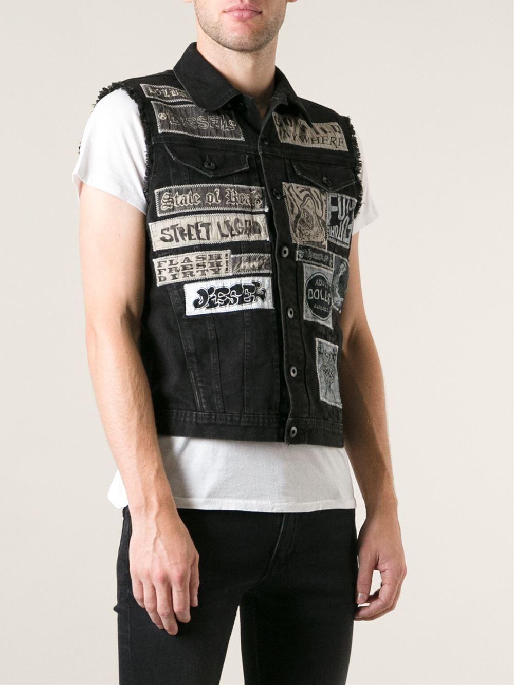 Diesel Sleeveless Denim Jacket in Black for Men | Lyst