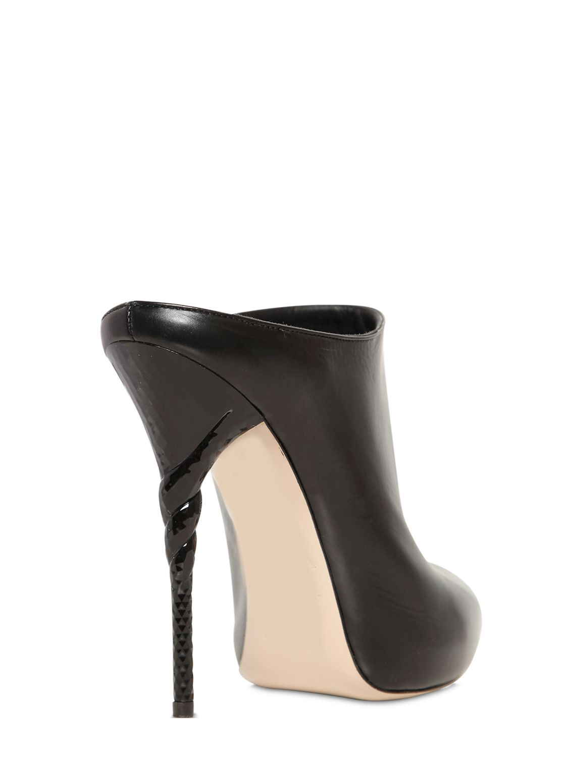 Lyst Le Silla 120mm Torchon Heel Leather Mules In Black