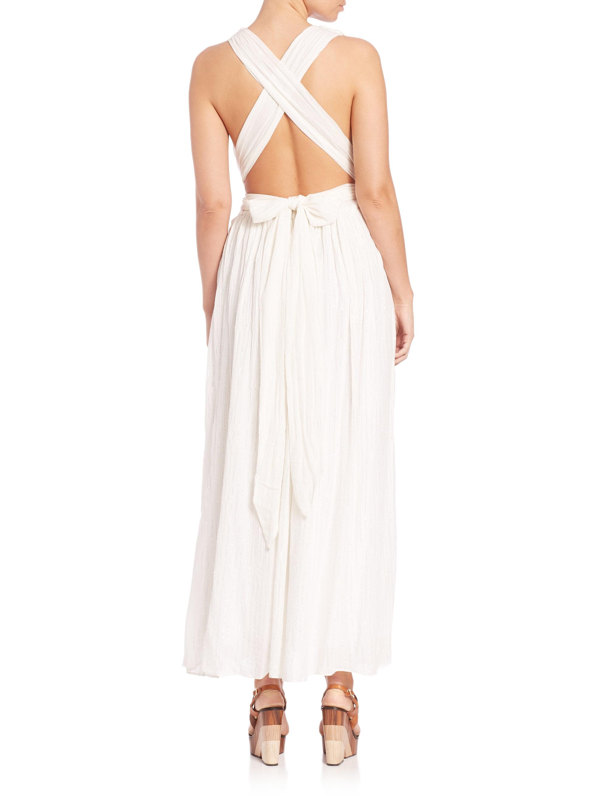 Mara hoffman Metallic Cotton Wrap Dress in White | Lyst