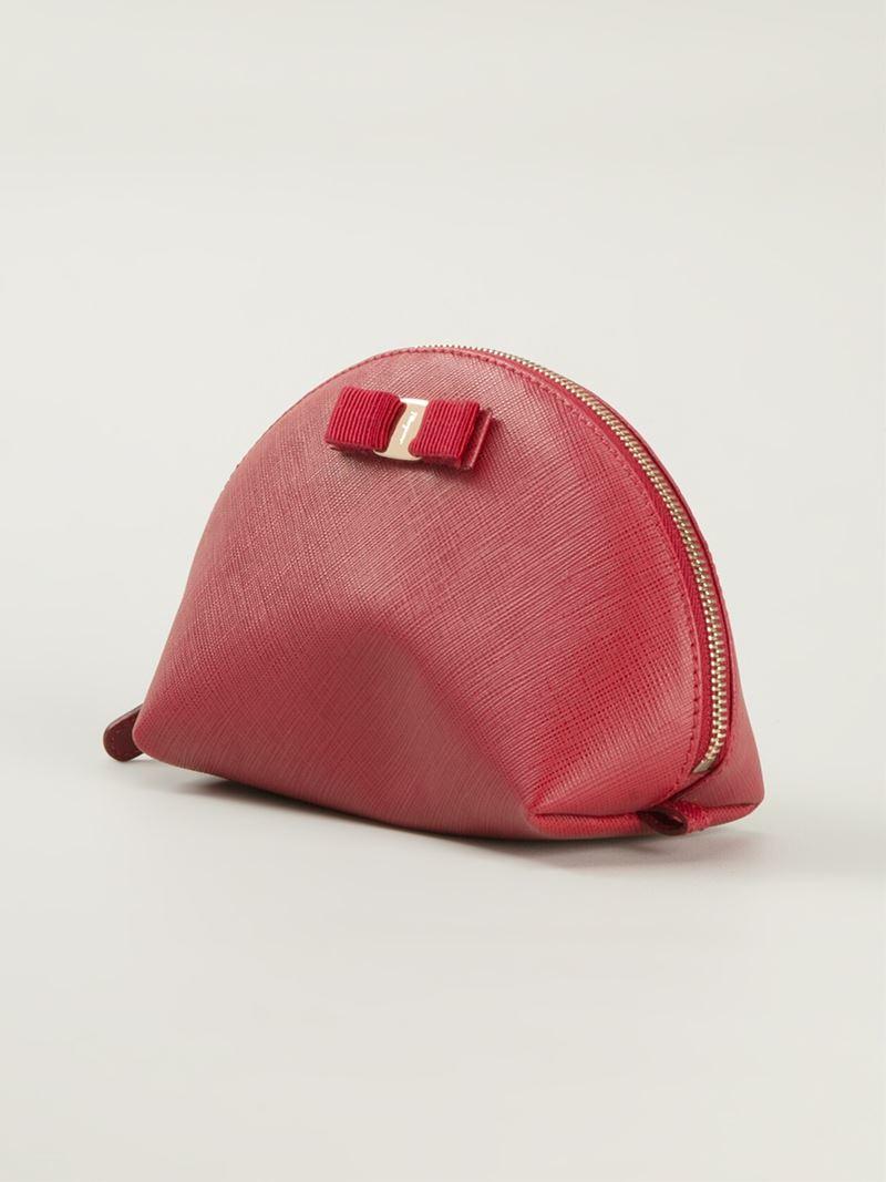 d30fe1e476 Lyst - Ferragamo  Vara  Bow Makeup Case in Red