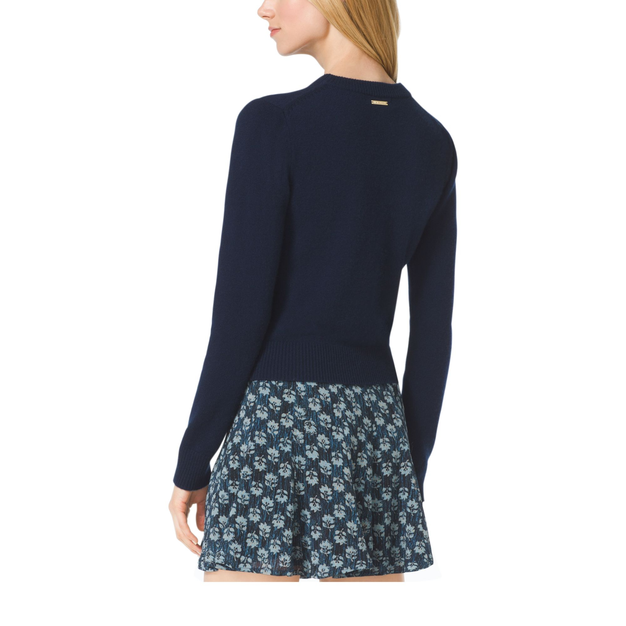 Michael kors Cropped Cashmere Sweater in Blue | Lyst