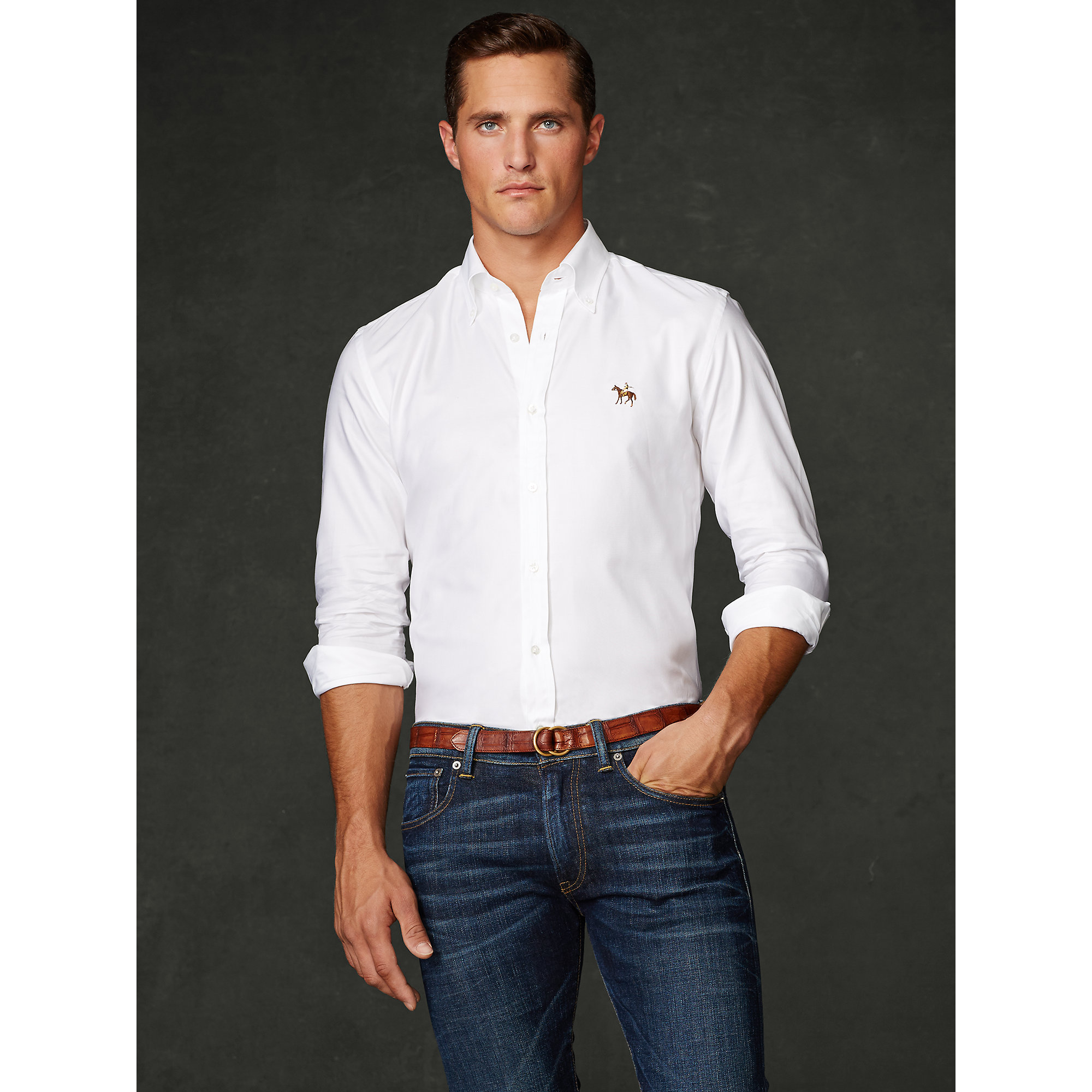 Lyst - Ralph Lauren Purple Label Classic Oxford Sport Shirt in White for Men