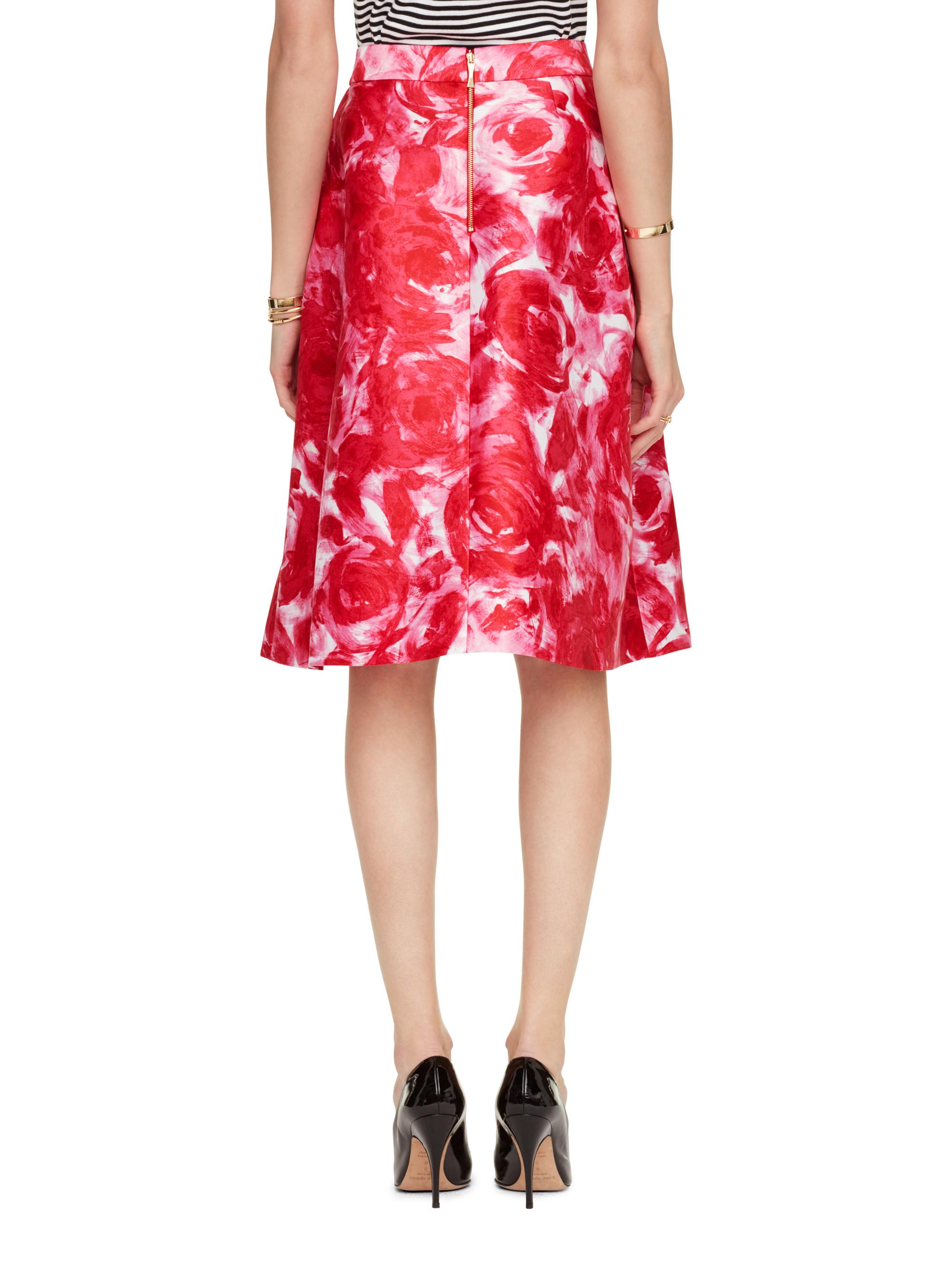 a6e6f353b9 Kate Spade Brushstroke Rose Crista Skirt in Red - Lyst