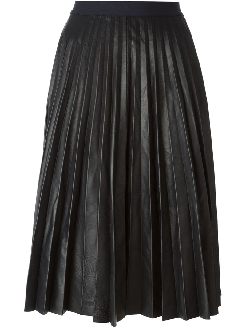 theory pleated midi skirt in blue lyst