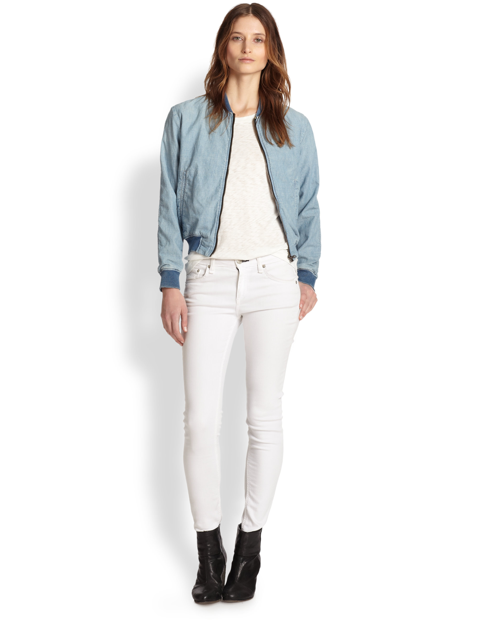 Rag &amp bone Denim Bomber Jacket in Blue | Lyst