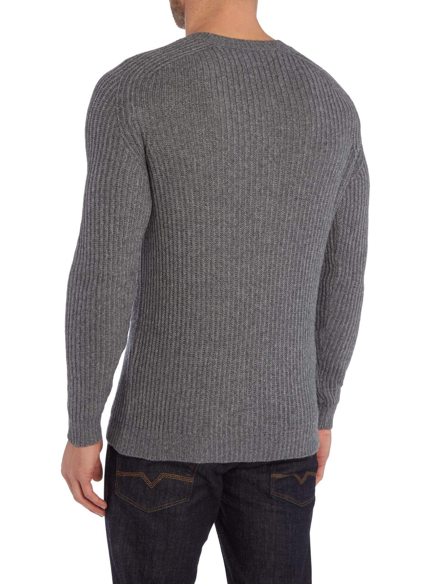 Updated for in a dark charcoal grey, the Men's Team Knitted Jumper comes in a striking hybrid material design with a woven nylon back and cotton-polyester knit.