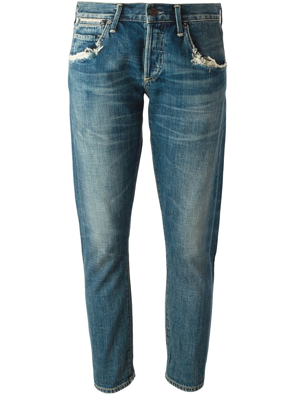citizens of humanity cropped distressed jeans in blue lyst. Black Bedroom Furniture Sets. Home Design Ideas